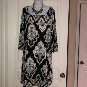 Plus Knit Printed Dress 2X